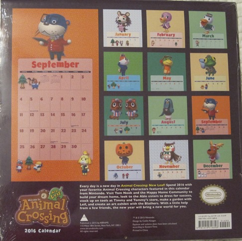Gamerdad gaming with children animal crossing 2016 calendar its a pretty big sheet of them almost as big as the calendar itself as you can see solutioingenieria Gallery
